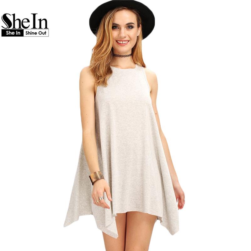 SheIn New Woman Dress 2016 Summer Fashion Grey Sleeveless Round Neck Casual Straight Asymmetrical Hem Mini Dresses(China (Mainland))