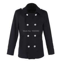Retro Vintage Men's Woolen Trench Coat Slim Fit Double Breasted Overcoat Jacket Wool Outerwear Winter Black(China (Mainland))