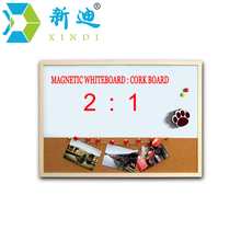 XINDI 2016 New Whiteboard and Cork Board Combination Wood Frame Magnetic Whiteboard With Free Marker Pens 30*40cm Free Shipping(China (Mainland))