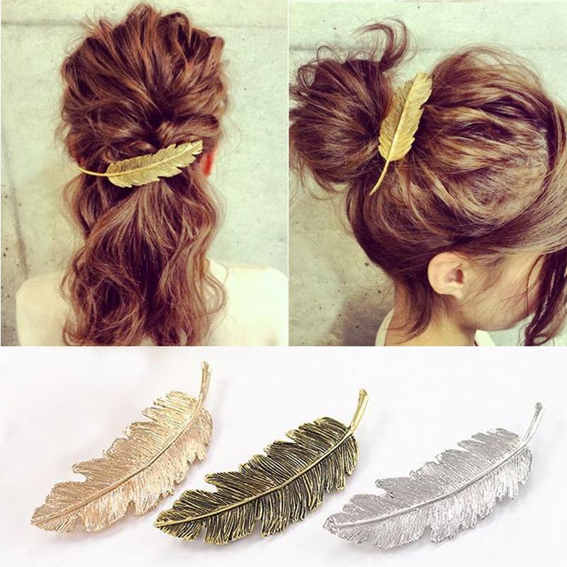 Korean Cute Gold Silver Bronze Plated Leaf Girls Hair Clips Barrette Metal Hair Accessories for Women accesorios para el pelo(China (Mainland))