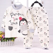 SL-15 2015 New Cute Baby Sleepwear Spring Girls Sleep Sets Penguin Printing Autumn Bebe Cartoon Sleepwear(China (Mainland))