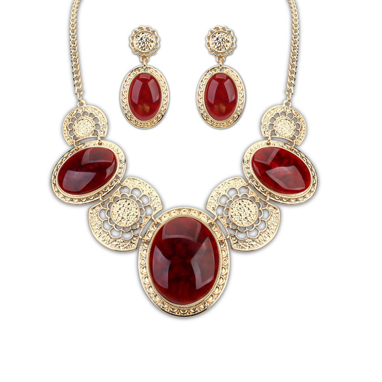 Min. order is $10 necklace and earring sets jewelry Court temperament luxury suite new 2014 necklaces chaines free shipping(China (Mainland))
