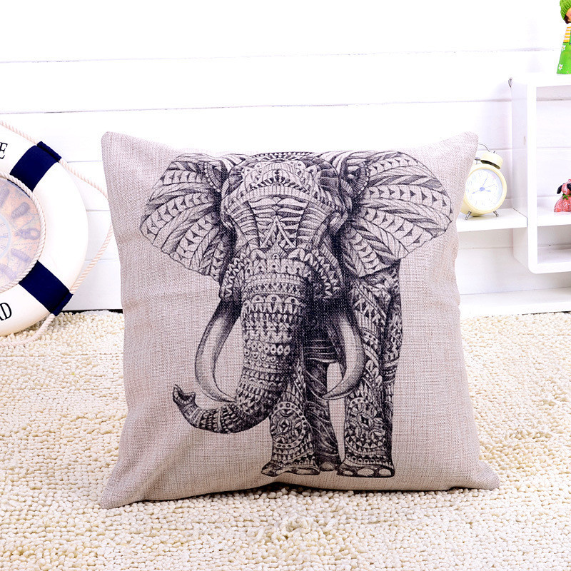 Selljimshop Retro Elephant Decorative Pillow Case Cushion Cover Fashion Home Car Bed Sofa Protect Decal 45cm *45cmFreeShipping(China (Mainland))
