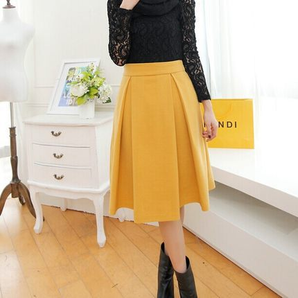 Woolen skirts women new autumn and winter 2014 was thin waist and long sections thick warm woolen skirts large skirt DM436Одежда и ак�е��уары<br><br><br>Aliexpress