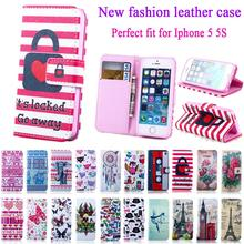 Colourful Case For IPHON 5 Book Style Wallet PU Leather Cover Case For iPhone 5S 5SE phone case with card holder for iPhone 5 se(China (Mainland))
