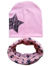 Retail and wholesale New style beautiful stars baby hat cotton scarf infant hats set child caps scarf baby cap for autumn winter(China (Mainland))