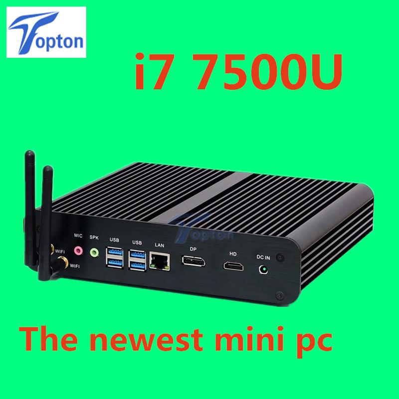 The Newest Barebone System Intel 7th Gen Kaby Lake i7 7500u Powerful Fanless Mini PC Mini Computer Support 3D Games DP+HDMI Port(China (Mainland))