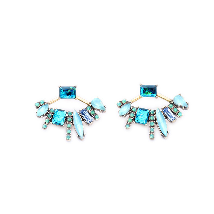 Gold Plated Starburst Stud Earrings with Multisized Geometric Sapphire Crystal and Opalite Art Deco Fashion Jewelry Wholesale(China (Mainland))