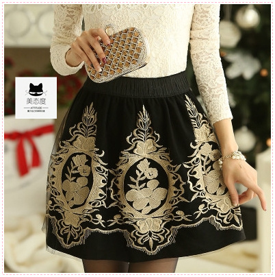 2014 autumn women's gold embroidery elastic waist elegant skirt pleated back color mini xxl LZD00059 - Enjoy Your Time store