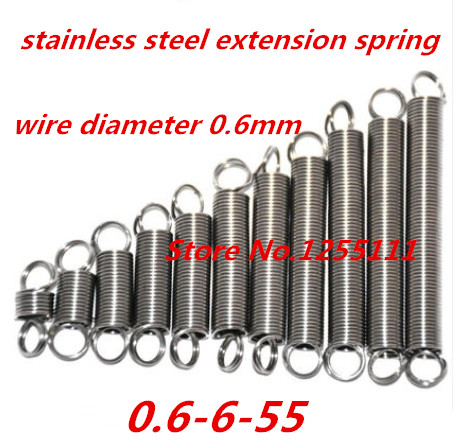 30pcs/lot 0.6mm x 6mm x 55mm Stainless steel helical spring, 0.6mm high extension spring,long extension spring with hooks(China (Mainland))