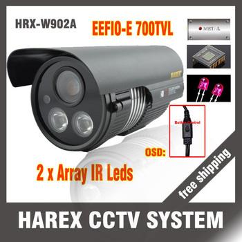 "1/3"" Sony EFFIO-E 700TVLine 2*LED Arrays with OSD Menu outdoor/indoor waterproof cctv camera with bracket. Free shipping"