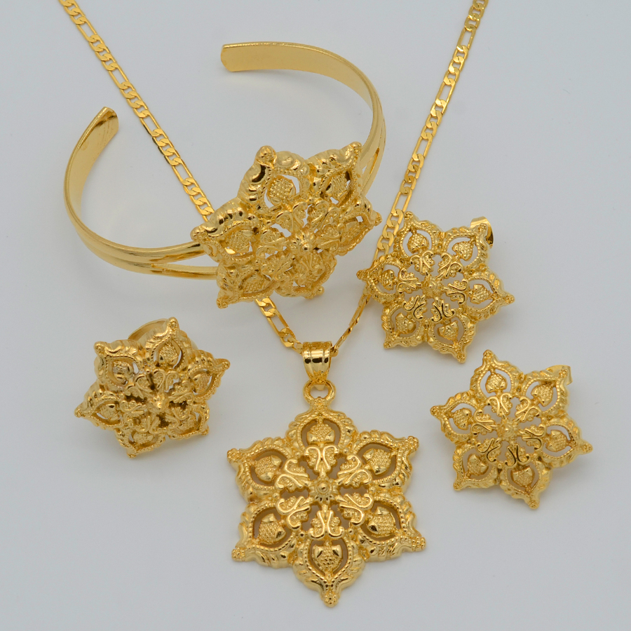 gold flowers set jewelry women 22k gold plated pendant