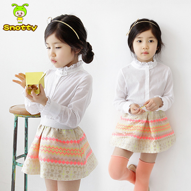 2016 Children 2pcs Sets Skirt Suit Girls White Shirt And Skirt Dress 2pcs Children Clothing Sets KS-1465(China (Mainland))