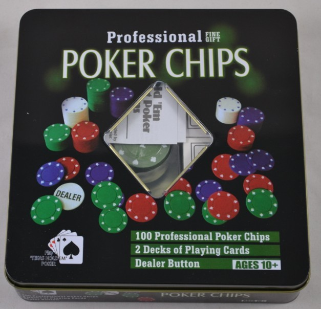 Free shipping high quality texas poker chips suit 100 poker chips and 2 deck of cards(China (Mainland))