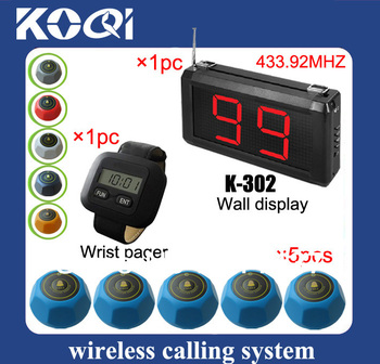 433.92mhz call button system guest send call signal to waiter just by a press at fingertips LED display 220*120*40MM K-302+300+M