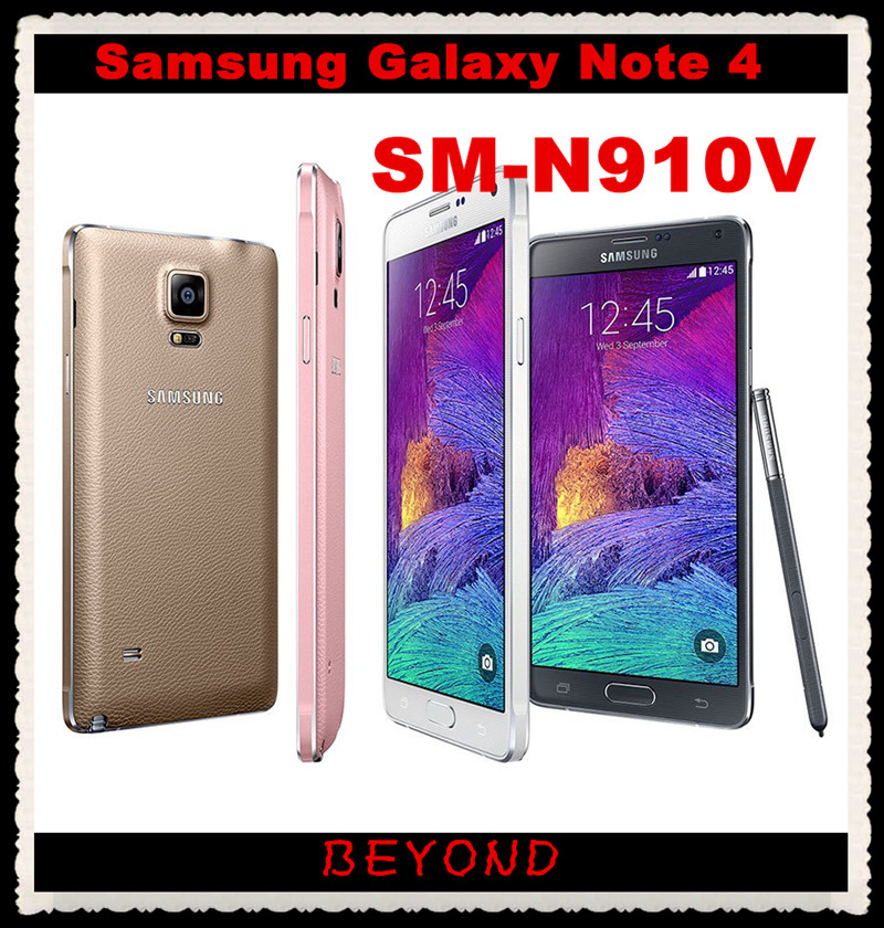 "Samsung Galaxy Note 4 N910V Verizon Original Unlocked 4G LTE GSM&CDMA Android Mobile Phone Octa Core 5.7"" 16MP RAM 3GB ROM 32GB(China (Mainland))"