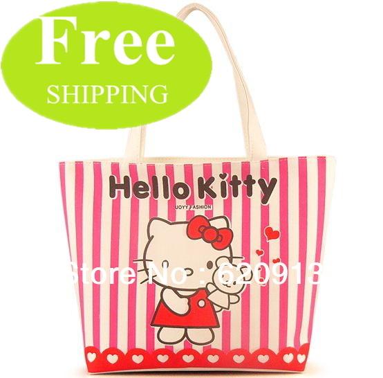 Discount Fashion Cute Sanrio Hello Kitty Canvas Bags Handbags Shopping Tote Bag 4 Pattern Free Shipping Factory Price(China (Mainland))