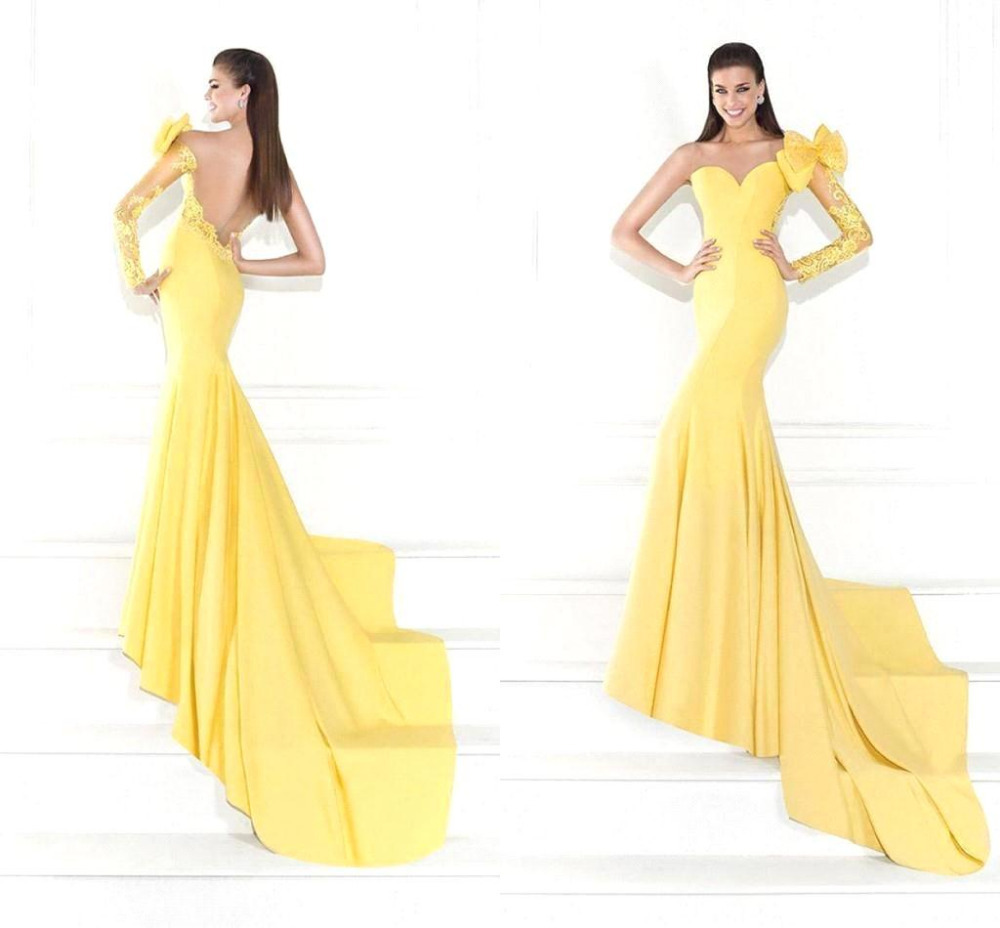 Yellow Prom Dress With Sleeves Summer 2016 Sweetheart...