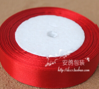 1roll (22 meters) 25mm width single face satin ribbon gift packing belt wedding decoration crafts 026 - Appliques 2014 store