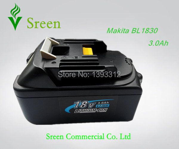New Rechargeable Lithium Ion 3.0Ah Replacement Power Tool Battery for Makita 18V BL1830 LXT400 194205-3 194230-4 Free Shipping(China (Mainland))