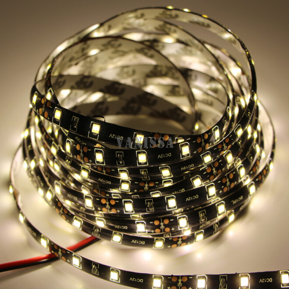 DC12V 5M 3528 smd waterproof 300 led flexible strip light 60 leds/m tira PCB Black Decor tape ribbon stirng Car lamp white(China (Mainland))