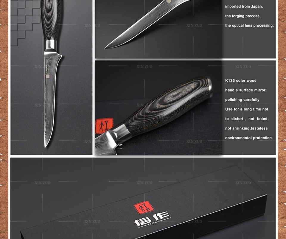 Buy 2016 XINZUO 5.5 inch boning knife Damascus kitchen knives super sharp japanese VG10 chef knife kitchen tool free shipping cheap