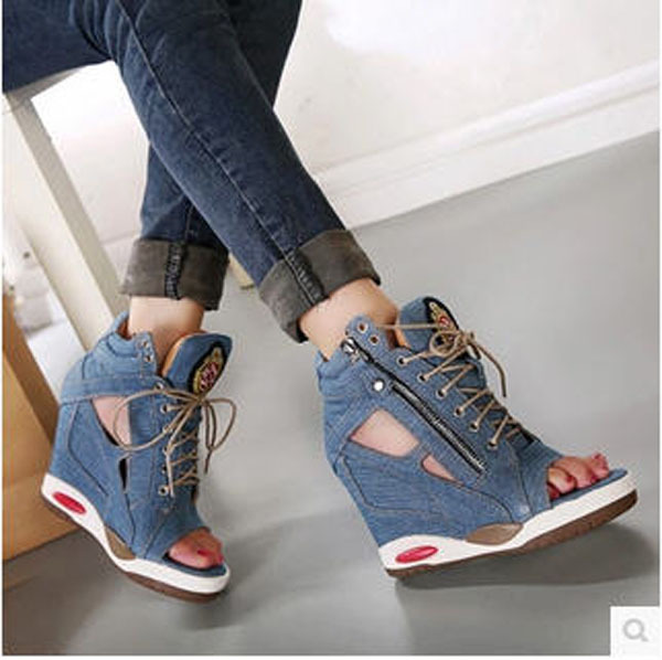 Female Open Toe Fish Head Wedges Denim Sandals Waterproof Canvas Summer Autumn High Heeled Lace-Up Shoes Sapato Feminino S2575(China (Mainland))