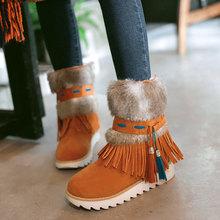 Nueva Moda Tobillo de Las Mujeres Patea Los Zapatos planos Del Talón Negro de Cuentas felpa Suede Nubuck borla de la Mujer Botas de invierno botas de nieve caliente AA554(China (Mainland))