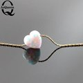 2016 new Nice Heart Shaped Pink white Fire Opal Pendant Necklace for Lady