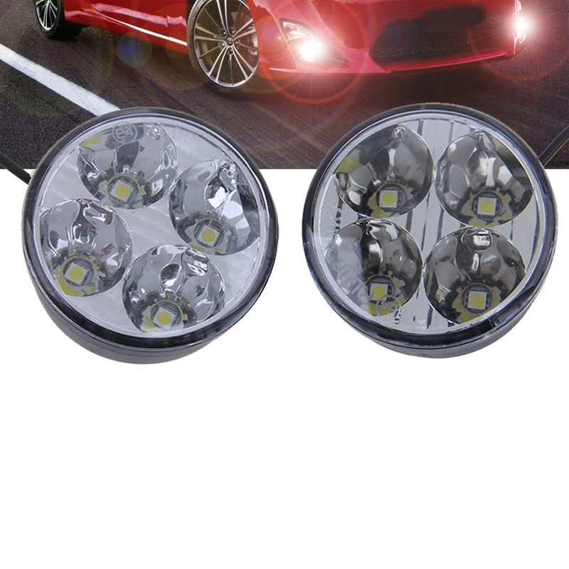 -90% OFF 2pcs Round Auto Car Lights 4 LED DRL Driving Daytime Running Head Fog Light Lamp White(China (Mainland))