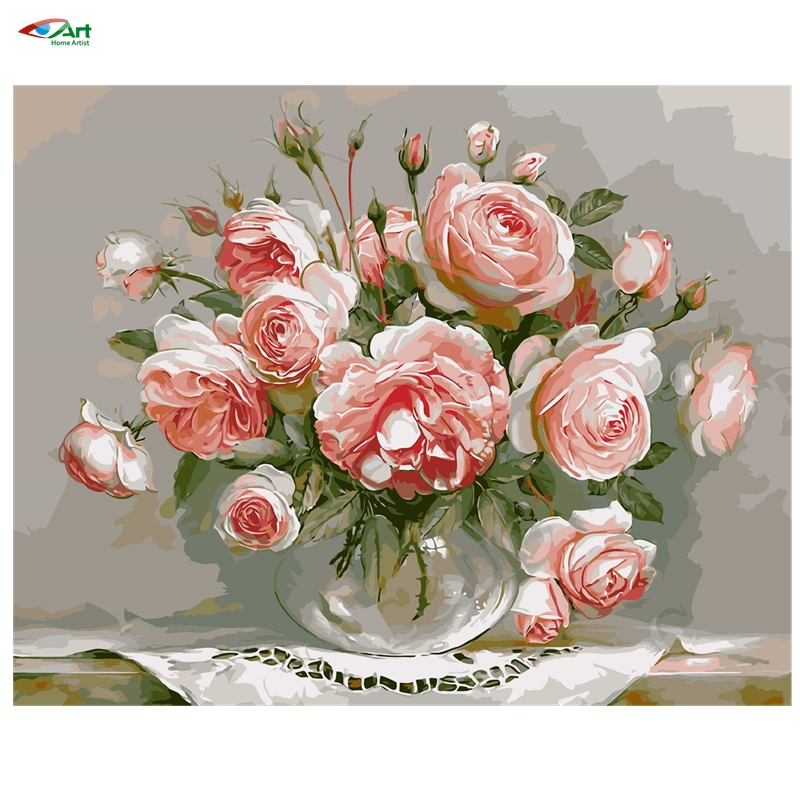 Digital Oil Painting On Canvas handwork gift set of pink flower 40x50cm framed handwork Pictures Painting By Numbers szyh030(China (Mainland))