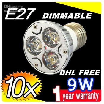 Sales DHL FREE E27 9W Dimmable CREE LED SpotLight Bulbs Lamp Warm white bright downlights 3X3W