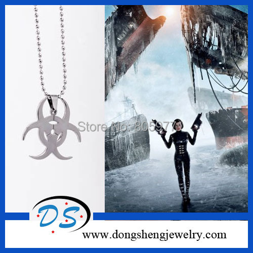 Hip Hop Resident Evil Movie Stainless Steel Leather Chain Pendant Necklace Men Jewelry Free shipping<br><br>Aliexpress