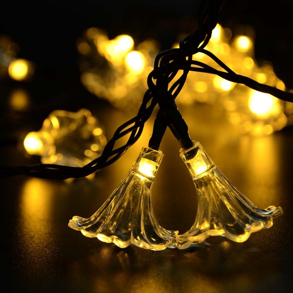 Hot 4 pcs/set Flower Solar Fairy String Lights 16ft 30LED Blossom Decorative Solar String Lights Party And Holiday Decorations(China (Mainland))