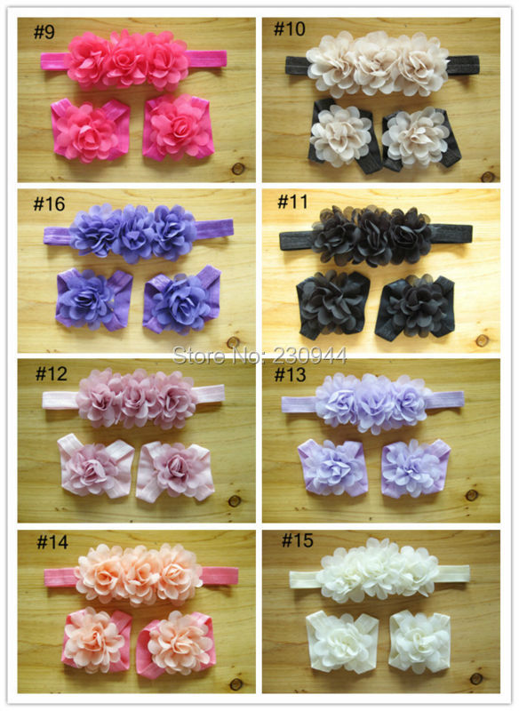 Children chiffon flower headbands + foot flower 3 times the European and American foreign trade baby hair accessories 40set/lot(China (Mainland))