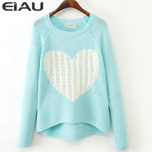 Wool Blend Brand Elegant Heart Pattern Pullover O neck Long Sleeve Knitwear Stylish Casual Slim Knitted