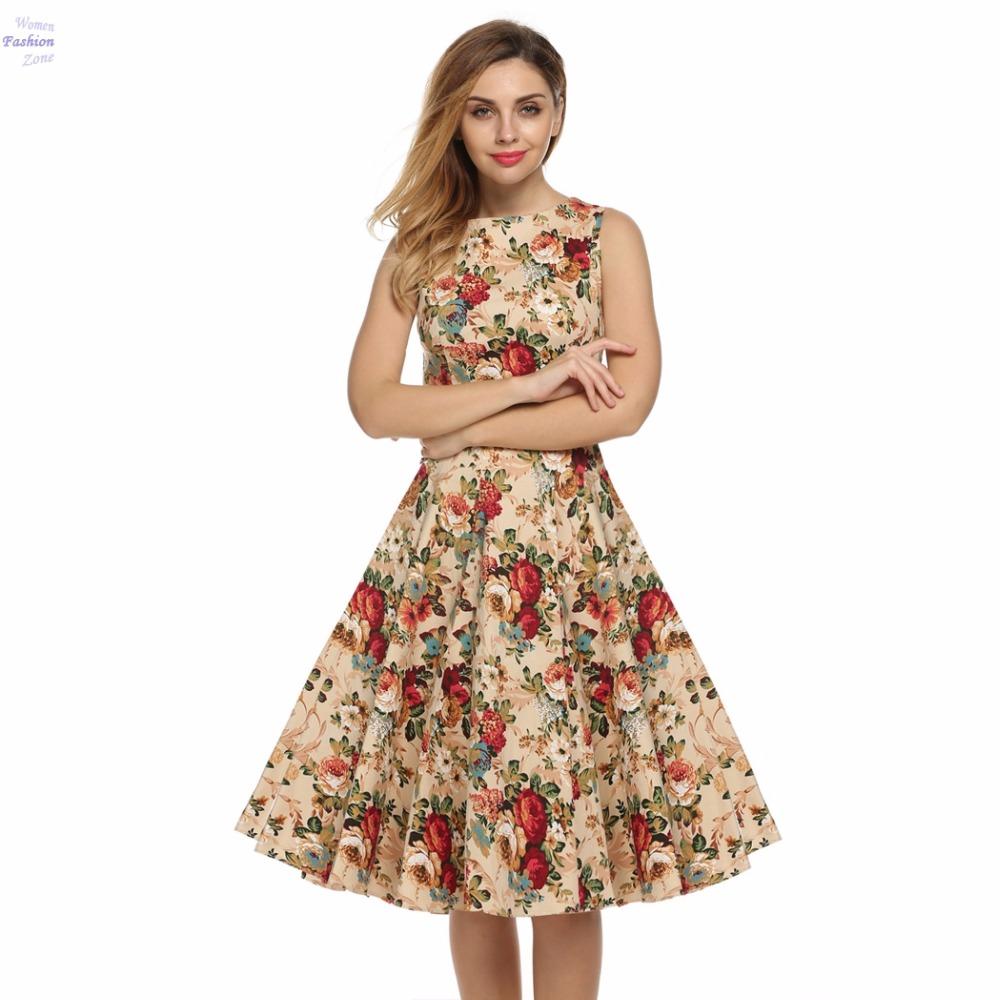 Elegant Plus Size 50s Vintage Women 1950s Retro Floral Casual Party Dresses