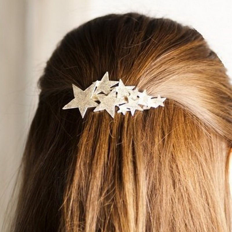 2016 New Korean style Jewelry Women Lady Girl Gold Silver Star Hair Clip Barrette Hairpin Bobby Pin Hair Accessories(China (Mainland))