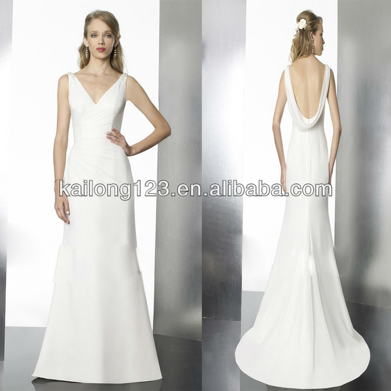 Buy brand new v neck sleeveless sheath for Sheath wedding dress with beading and side drape