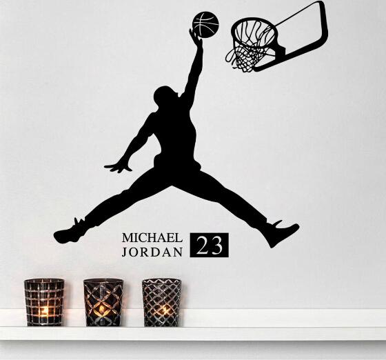 Free shipping fashionable room decor wall sticker michael jordan play basketball portrait sport - Michael jordan bedroom decor ...