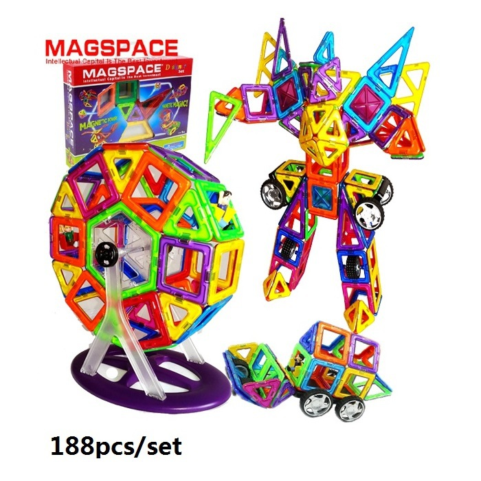 188PCS MAGSPACE Magformers Magnetic building Kits forge world DIY 3d model doll house learning educational baby toys,(China (Mainland))