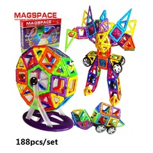 188PCS MAGSPACE Magformers Magnetic building Kits  forge world DIY 3d model doll house learning educational baby toys, (China (Mainland))