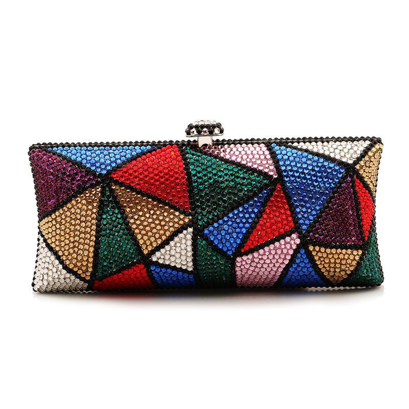 Women Fashion Lucury Crystal Diamonds Colorful Triangle Day Clutch Ladies Chains Wedding Party Dinner Messenger Bag XA1044D<br><br>Aliexpress