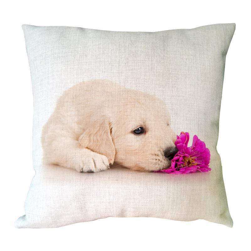 cute dog with pink flower printed pillowcase linen cotton animal cushion covers home sofa decor cushion