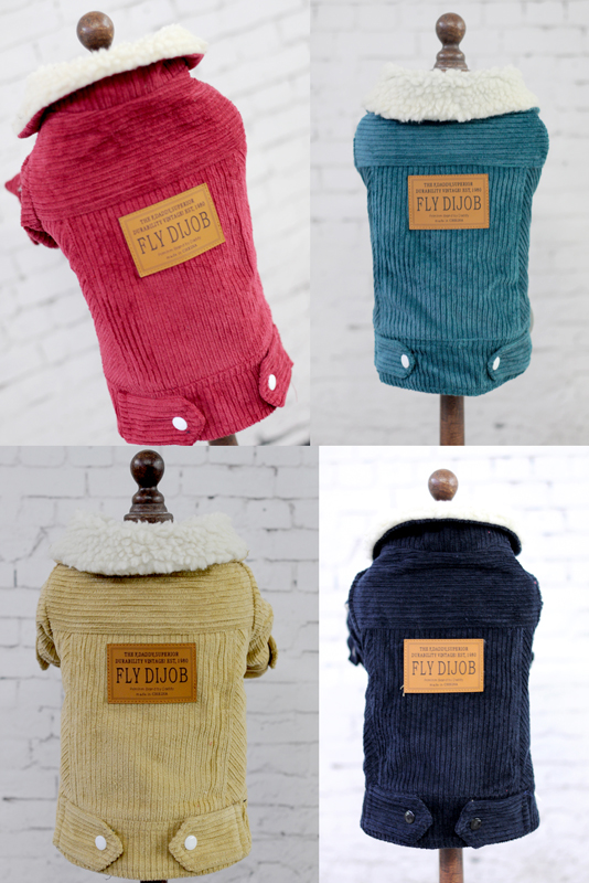 Corduroy Jacket Style Pet dogs Winter Coat Free Shiping By CPAM Dogs Clothing(China (Mainland))