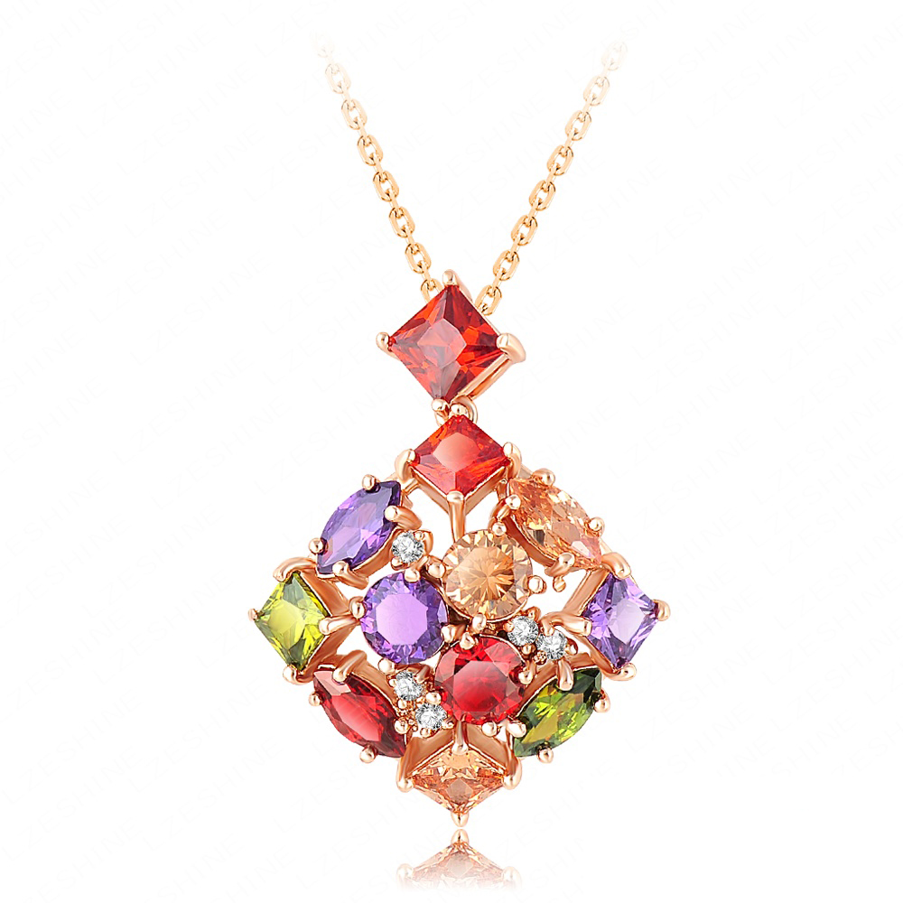 High Quality Hot Costume Jewelry Pendant Necklace Real 18K Gold Plated Multicolor Zircons Necklace Gift For