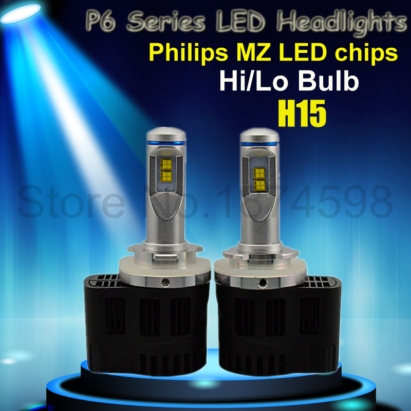 Newest Hi/Lo 55W 5200Lm P6 H15 Canbus LED Headlight Kit Repl. Halogen HID Bulb hot sale in RU,ES,GR,FR,CA,IT,ID,CZ,PL,TR ETC(China (Mainland))