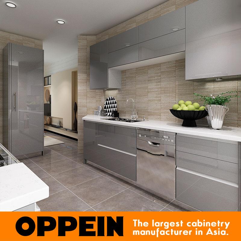 2016 Oppein New Design Grey Acrylic Finish Kitchen Cabinet Kitchen Furniture(China (Mainland))
