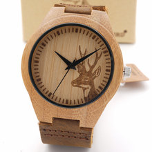 New Wolf Deer Styles Bamboo Wood Watches Men's Luxury Brand Clock Leather Band Wooden Bamboo Wristwatches In Wood Box