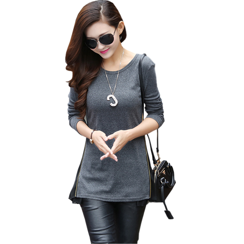 camisetas mujer brand patchwork side zip long t shirt femme 2015 tee shirts women fashion tops and tees casual t-shirt plus sizeОдежда и ак�е��уары<br><br><br>Aliexpress
